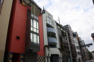 Salgasse. Calles y casas estrechas de estilo postmoderno